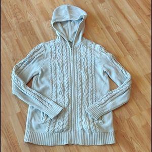 EUC Hooded full zip fisherman sweater